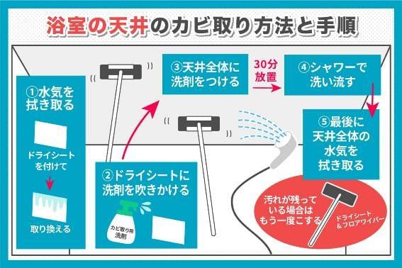 浴槽の天井のカビ取り方法と手順
